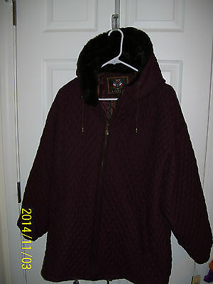 NWT THE EXPRESS quited BURGUNDY faux fur lined HOODIE jacket SIZE M ret $90.00
