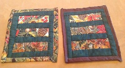 Two Fall Patchwork Quilt Pot Holders, Harvest Leaves, Fall Colors