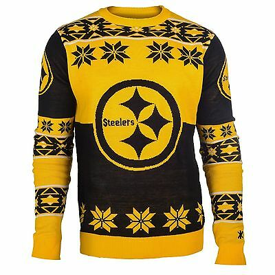 NFL UGLY SWEATER Pullover Christmas Style PITTSBURGH STEELERS Big-Logo-Jumper