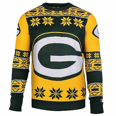 NFL UGLY SWEATER Pullover Christmas Style GREEN BAY PACKERS Big-Logo-Jumper