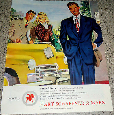 1947 Hart Schaffner & Marx Men's Suit Vintage Clothing Clothes Fashion Ad