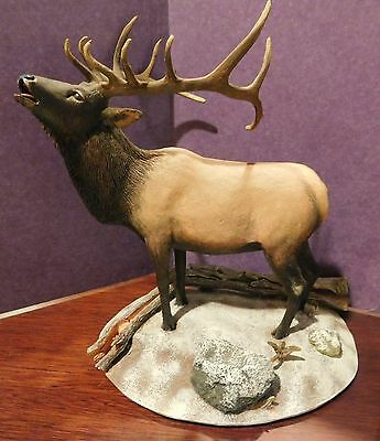 Danbury Mint WINTER CALL Large Elk Figurine with Wood Stand