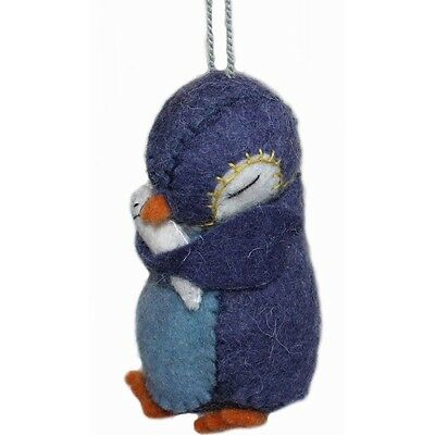 Penguin Handmade Wool Needle Felt Holiday Christmas Ornament Silk Road Bazaar