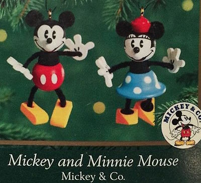 Hallmark 2000 NIB Disney Mickey and Minnie Mouse Miniature Ornament Set of 2