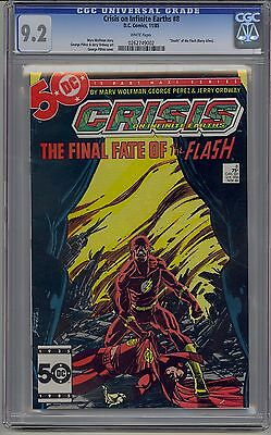 Crisis On Infinite Earths #8 Cgc 9.2 White Pages Death Of Flash