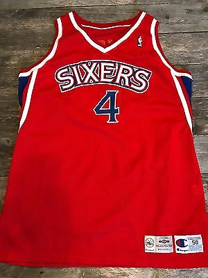 Vtg 90's Sharone Wright Philadelphia 76ers Champion Game Worn Used Jersey NBA