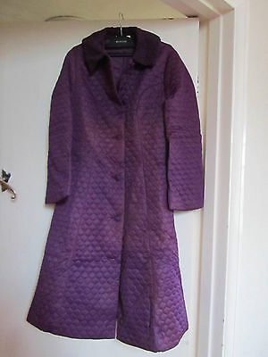 Vintage 70s M&S Purple Long Robe / Dressing Gown in Size 8