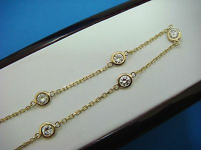 """14K Yellow Gold 0.85 Ct """"diamonds By The Yard"""" 5 Stations Bracelet, 7 Inch Long"""