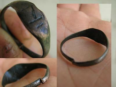 NICE BRONZE  MEDIEVAL RING with ORNAMENT # 4105