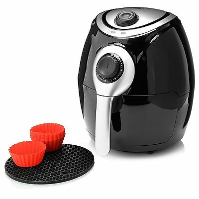 Cook's Companion 1200W Air Fryer w/ Silicone Baking Cups & Trivets NEW