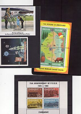 Swaziland And Zimbabwe M/sheets X 4 Mnh , Stamps From The 1980S