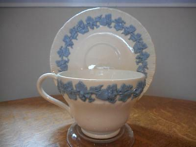 Wedgwood lavender on cream shell edge embossed queensware cup & saucer AS IS