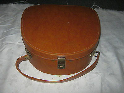 Vintage 60's Retro Andrew Leather Products Brown PVC Vanity Make Up Carry Case