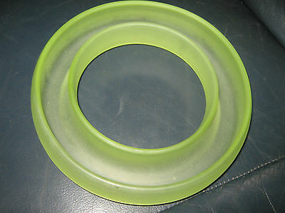 Large Frosted Green Uranium Glass Posy Ring Vase