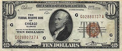 1929 10 Dollar National Currency Brown Seal Series GA Chicago