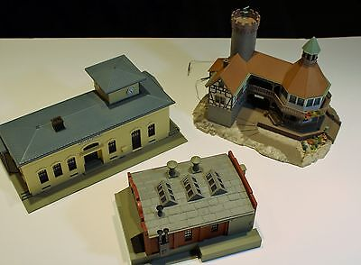 Three Nice Faller & POLA HO Scale Buildings - Castle Station & Factory - Built