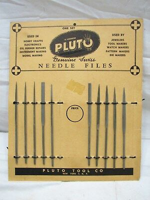 Lot Vintage Pluto Needle Files Pattern Makers Jeweler's Tool w/Display Card Sign