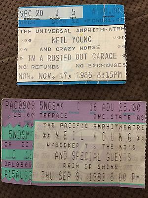 Neil Young Vintage Concert Ticket Stub - Lot Of 2