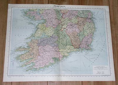 1940 Original Vintage Wwii Map Of Southern Ireland Dublin Cork Clare Galway