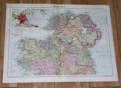 1940 Original Vintage Wwii Map Of Northern Ireland Dublin Belfast Mayo Donegal