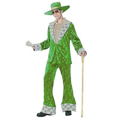 Mens 1970s Money Pimp Daddy Costume 70s Decade Halloween Party Outfit & Hat
