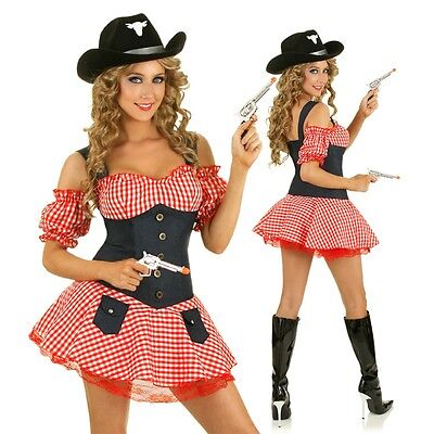 Womens Western Cowgirl Costume Rodeo Wild West Fancy Dress Party Outfit