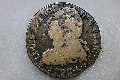 France 2 Sols 1792 A Scarce Nice Details A56 #k8094