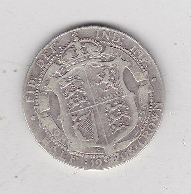 1908 Edward Vii Silver Halfcrown In Used Fine Or Slightly Better Condition