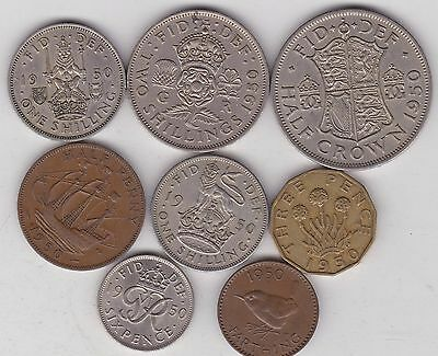 1950 George Vi Set Of 8 Coins In Very Fine Or Better Condition