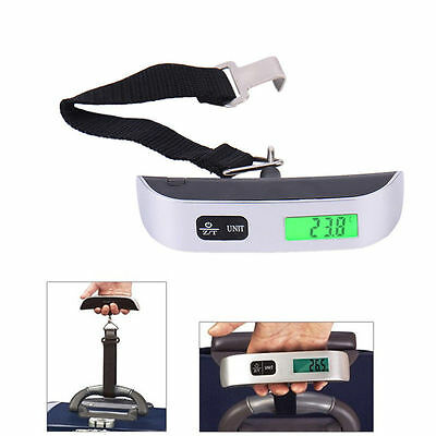 NEW LCD Luggage Electronic Hanging Scale Thermometer Digital Weighing Hook Scale