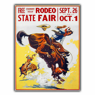 AMERICAN RODEO FAIR SIGN METAL WALL PLAQUE Vintage Retro Travel Advert print