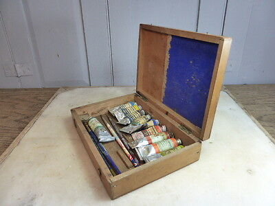 Vintage small wooden paintbox & misc contents