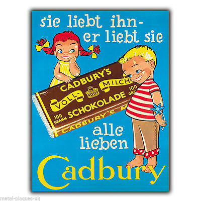 METAL SIGN WALL PLAQUE CADBURY GERMAN PRINT Retro Vintage poster Advert 1920's