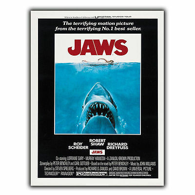 JAWS 1975 SIGN METAL PLAQUE Retro Film Movie Advert poster print decor