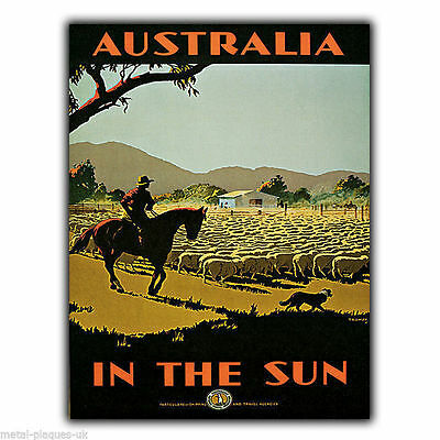AUSTRALIA Vintage Retro Travel Advert METAL WALL SIGN PLAQUE poster print