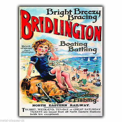 BRIDLINGTON Vintage Retro Travel Advert METAL WALL SIGN PLAQUE poster print