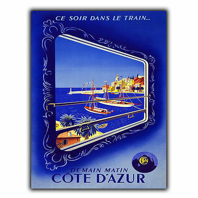 COTE D'AZUR METAL SIGN WALL PLAQUE Vintage Retro Travel Advert print poster
