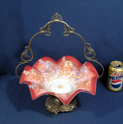 Vtg Antique Art Glass Brides Basket Mt Washington Webb Enameled Cased Victorian