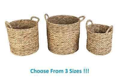 Water Hyacinth Basket Wicker Woven Weave Storage Bedroom Kitchen Laundry Home