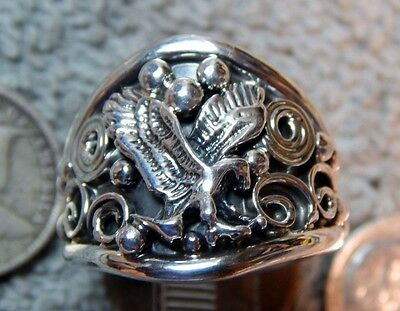 Mens New Solid Sterling Silver Eagle Ring by Ray Yazzie size 11 1/2