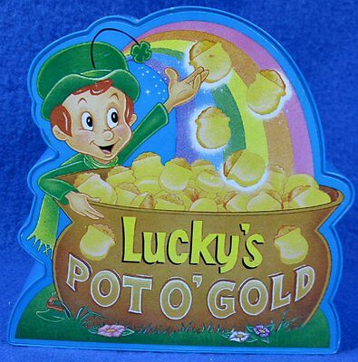 LUCKY'S Lucky Charm Cereal POT O' GOLD Plastic Coin Bank Musical