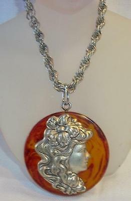 Large Cameo Pendant Necklace Silvertone on Bakelite ? Faux Tortoise