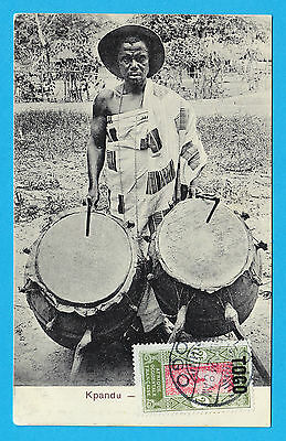 Native drummer Kpandu from Mission in Lomé Togo postcard series with CTO stamp