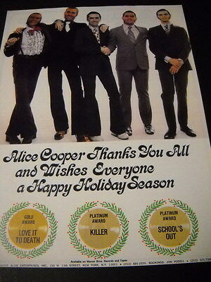 ALICE COOPER wishes everyone Happy Holiday Season PRESERVED 1972 Promo Ad