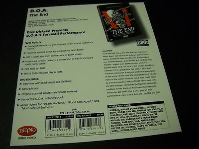D.O.A. original 2001 promo marketing plan page THE END farewell performance MINT