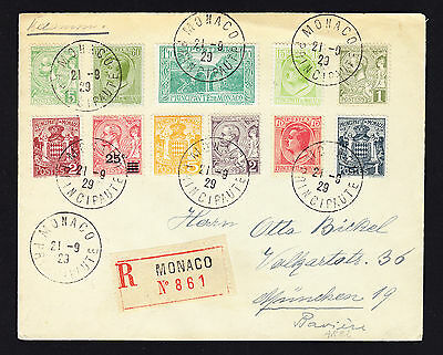 1929 registered cover from Monaco to Munich Germany displaying 11 used stamps