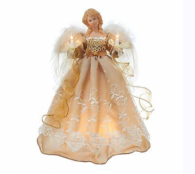 """ANGEL Light Up TREE TOP Gold and Copper 14"""" NEW Beautiful Christmas NEW IN BOX"""