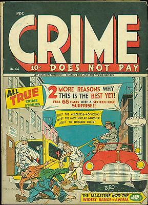 Crime Does Not Pay #44  bullets through chest and head  Lev Gleason 1946 Fine