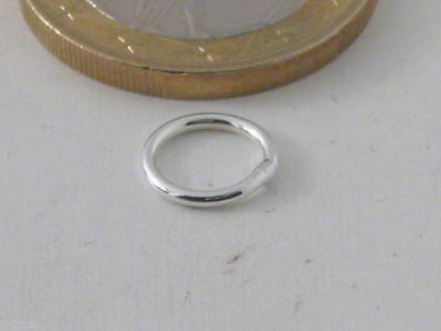 2 Anellini Saldati In Argento 925 Sterling Di 8 Mm Made In Italy
