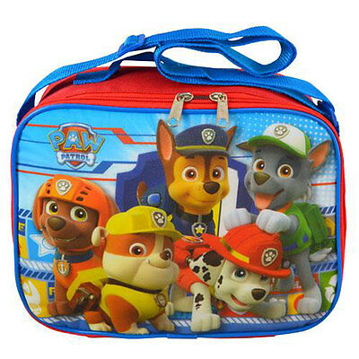 Nickelodeon PAW PATROL SCHOOL LUNCH BAG Chase Marshall Rubble Zuma Rocky BlueRed